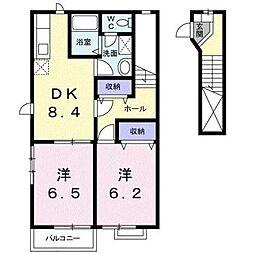サン・フローラB[2階]の間取り