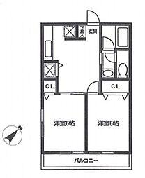 フォーレ高野台[2階]の間取り