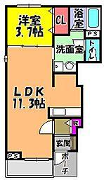 大阪府富田林市西板持町6丁目の賃貸アパートの間取り