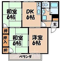 広島県広島市安芸区矢野東2丁目の賃貸アパートの間取り