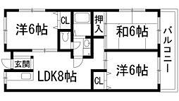 兵庫県宝塚市山本東1丁目の賃貸マンションの間取り