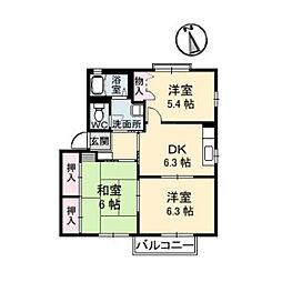 広島県広島市安佐南区中筋1丁目の賃貸アパートの間取り