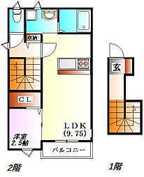 ベルリード三田[2階]の間取り