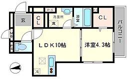 ルリエ江坂 2階1LDKの間取り