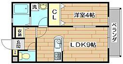 大阪府高槻市古曽部町1丁目の賃貸アパートの間取り