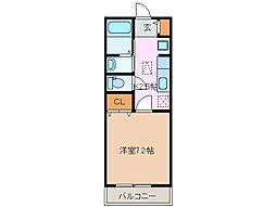 近鉄名古屋線 津駅 徒歩8分の賃貸アパート 2階1Kの間取り