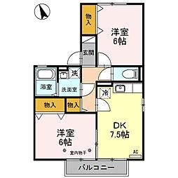 栃木県小山市神鳥谷1丁目の賃貸アパートの間取り