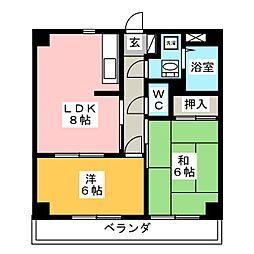 ジュネスSHIMABE[3階]の間取り