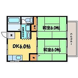 滋賀県大津市竜が丘の賃貸アパートの間取り