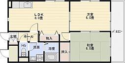 ロイヤルパレス法善寺[1階]の間取り
