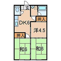 福島県伊達市保原町字実町の賃貸アパートの間取り