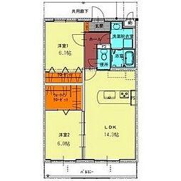 プランドールR−1[3階]の間取り