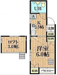 東京都国分寺市西恋ヶ窪1丁目の賃貸アパートの間取り