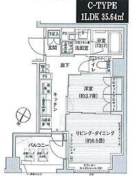 東京都港区六本木7丁目の賃貸マンションの間取り
