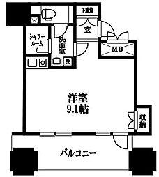 ルネ新宿御苑タワー 12階ワンルームの間取り