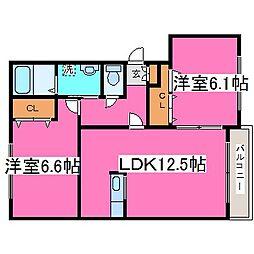 北海道札幌市北区篠路三条8の賃貸マンションの間取り