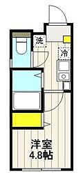 都電荒川線 王子駅前駅 徒歩6分の賃貸マンション 4階ワンルームの間取り