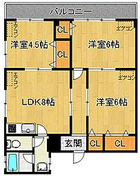 竹ノ塚グリーンハイツ[4階]の間取り