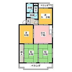 レジデンスブルー[2階]の間取り