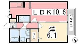 兵庫県姫路市飾磨区中島1の賃貸アパートの間取り