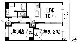 兵庫県宝塚市中筋山手4丁目の賃貸マンションの間取り