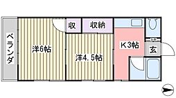 ルフェーレ津田沼(旧まりも荘)[203号室]の間取り