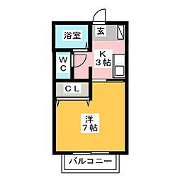 愛知県名古屋市中川区荒子1の賃貸アパートの間取り