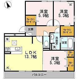 徳島県徳島市中吉野町2丁目の賃貸アパートの間取り