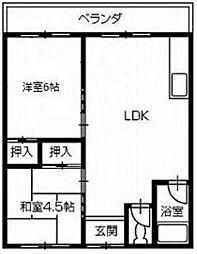 十川マンション[6号室]の間取り