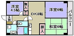 大阪府岸和田市南上町1丁目の賃貸マンションの間取り