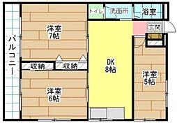 福岡県北九州市門司区社ノ木1丁目の賃貸アパートの間取り
