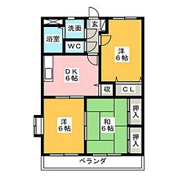三重県伊賀市上野桑町の賃貸マンションの間取り