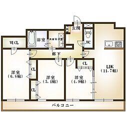 新潟県新潟市中央区米山5丁目の賃貸マンションの間取り