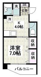 JR東海道本線 鴨宮駅 徒歩9分の賃貸マンション 1階1DKの間取り