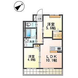 (仮)つくば市流星台新築マンション(ペット可) 3階2LDKの間取り