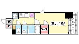 エスリード神戸三宮ラグジェ[910号室]の間取り