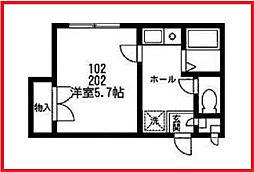 東京都荒川区町屋8の賃貸アパートの間取り