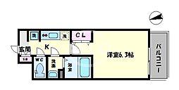 ララプレイス天王寺シエロ 11階1Kの間取り