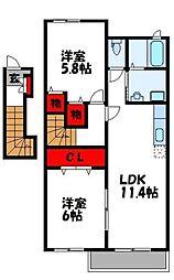 アバンツァートM II[2階]の間取り