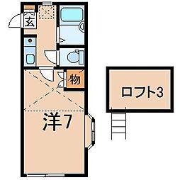 1001レオパレス南福島第1[2階]の間取り