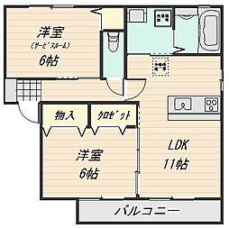 エンブレム伴B棟[2階]の間取り