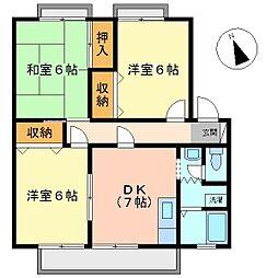 広島県福山市南蔵王町3丁目の賃貸アパートの間取り