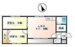 愛知県名古屋市緑区鳴海町字米塚丁目の賃貸マンションの間取り