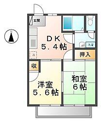 愛知県海部郡大治町大字八ツ屋字裏畑の賃貸アパートの間取り