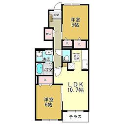 奈良県大和高田市礒野北町の賃貸アパートの間取り