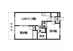 静岡県浜松市浜北区高薗の賃貸アパートの間取り
