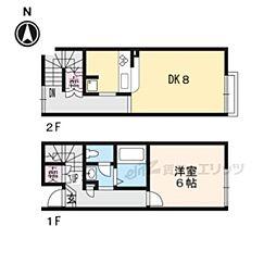 京都市営烏丸線 国際会館駅 徒歩16分の賃貸アパート 1階1LDKの間取り