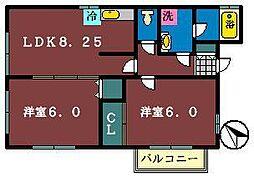 プリシェ海神[1階]の間取り