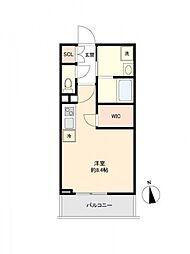 LiveCasa上野 2階ワンルームの間取り