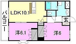 サンライズ・M[106 号室号室]の間取り